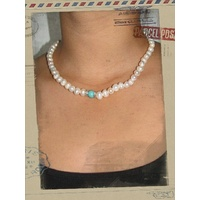 Fresh Water Pearl with a spot of Blue Necklace