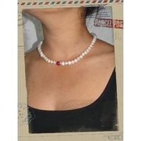 Fresh Water Pearl with a spot of Red Necklace