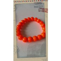 Glass Pearl Bracelet Neon Orange