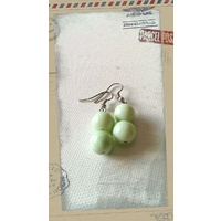 Glass Pearl Earrings Mint Green