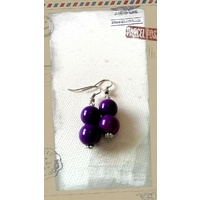 Glass Pearl Earrings Purple