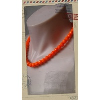 Glass Pearl Necklace Neon Orange
