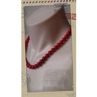 Glass Pearl Necklace Blood Red