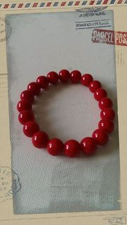 Glass Pearl Bracelet Blood Red