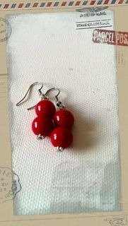 Glass Pearl Earrings Blood Red