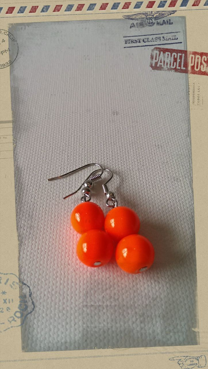Glass Pearl Earrings Neon Orange
